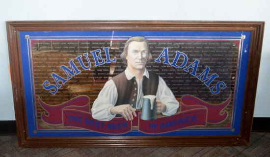 "BACCO ""SAMUEL ADAMS"" BEER MIRRORED SIGN,"