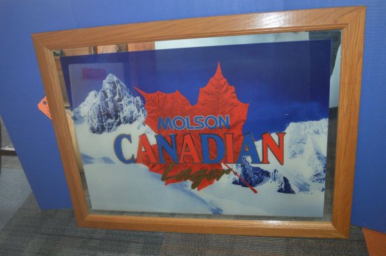 MOLSON CANADIAN BEER MIRRORED SIGN
