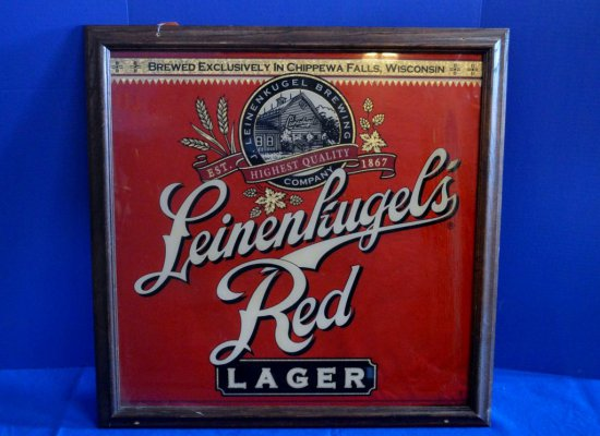 LEINKUGEL'S RED LAGER BEER SIGN,