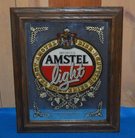 "AMSTEL LIGHT MIRRORED SIGN, 15""W X 18""H"