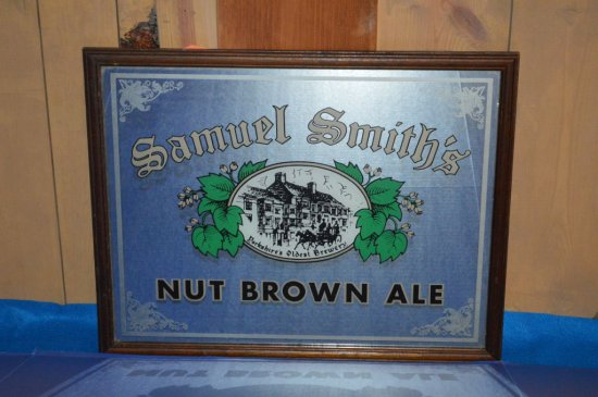 SAMUEL SMITH'S NUT BROWN ALE MIRRORED SIGN,