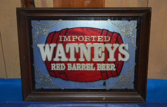 WATNEYS RED BARREL BEER MIRRORED SIGN,