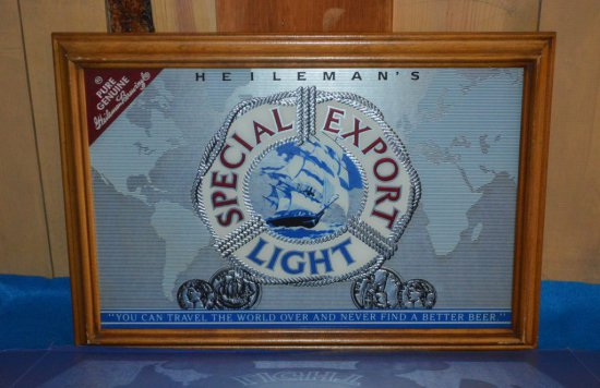 HEILEMAN'S SPECIAL EXPORT LIGHT MIRRORED SIGN,