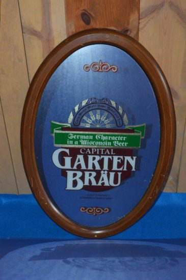 "CAPITAL GARTEN BRAU MIRRORED SIGN, 16 1/2""W X"