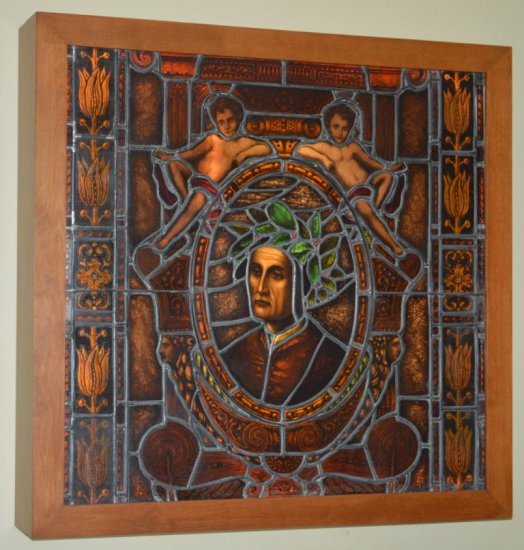 LEADED STAINED GLASS ARTWORK OF DANTE,