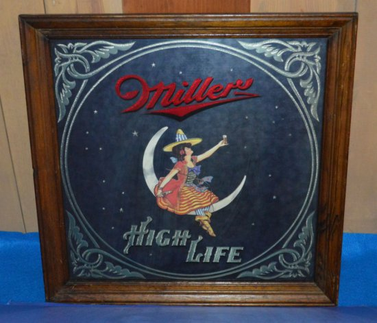 MILLER HIGH LIFE MIRRORED SIGN, 18 1/2""