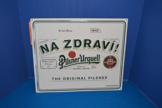 "PILSNER URQUELL METAL BEER SIGN 18""W X 15""H"