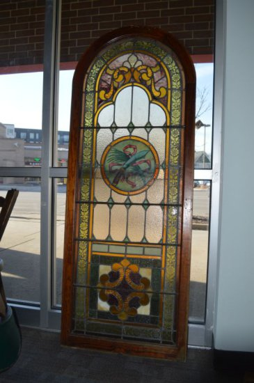"ARCHED STAINED GLASS WINDOW, 26 1/2""W X 69 1/4""H"