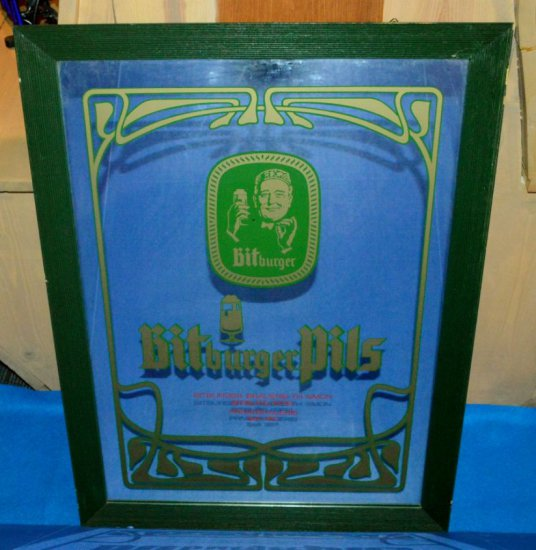 "BITBURGER PILS MIRRORED SIGN, 21 1/2""W X 28""H"