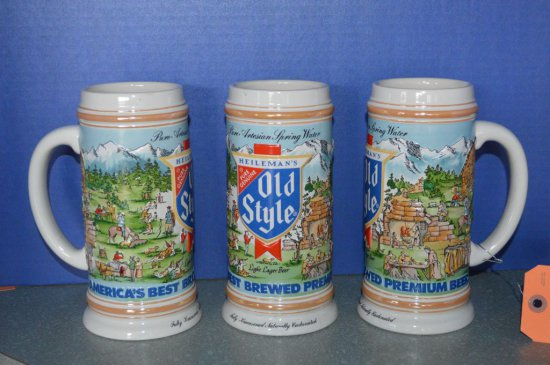 (3) OLD STYLE PREMIUM BEER STEINS, 1986