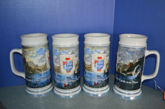 (4) HEILEMAN'S OLD STYLE BEER STEINS, 1985