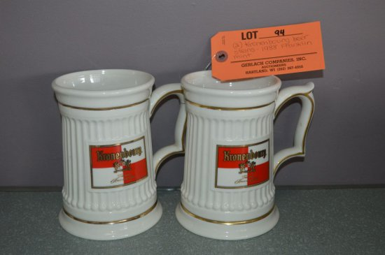 (2) KRONENBOURG BEER STEINS, 1988 FRANKLIN MINT