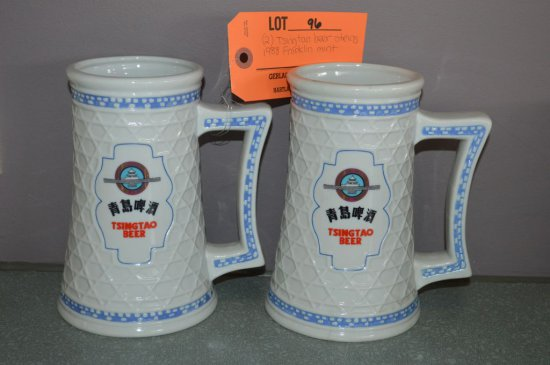 (2) TSINGTAO BEER STEINS, 1988 FRANKLIN MINT