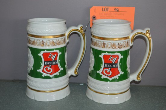 (2) BECK'S BREWERY BEER STEINS, 1988 FRANKLIN MINT