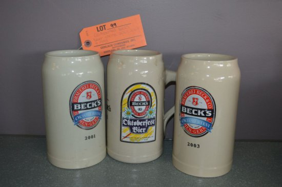 (3) ASSORTED BECK'S BEER STEINS: 2001, 2003 & 1993