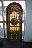 ARCHED STAINED GLASS WINDOW, 26 1/2