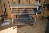 METAL CART WITH WIRE SHELVING WITH BUTCHER BLOCK TOP