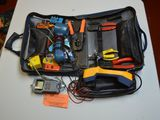 BLUE BAG W/CONTENTS: FLUKE NETWORKS PORTABLE TEST TELEPHONE,