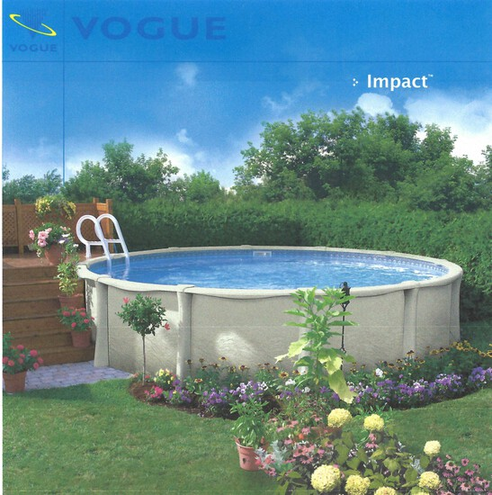 "12' X 52"" WALL, IMPACT ROUND VOGUE POOL W/HUNG LINER"