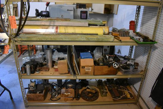 CONTENTS ON BOTTOM 3 SHELVES: LATHE COMPONENTS,