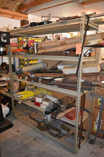 CONTENTS ON SHELVING UNIT: MISC. METAL BAR STOCK,