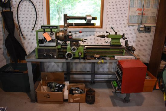 "MAXIMAT SUPER 11 LATHE, 12"" SWING X 20"" BED,"