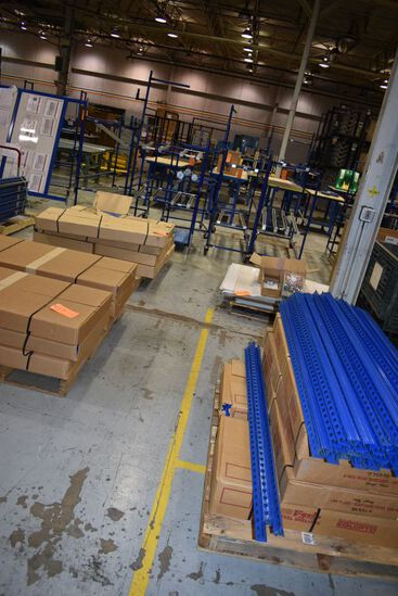 (4) SKIDS OF DISASSEMBLED AND NEW EQUIPTO SHELVING,