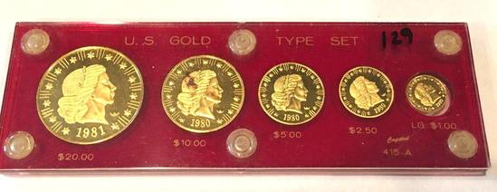 GOLD 1980-1981 US American Eagle 5 Coin Set