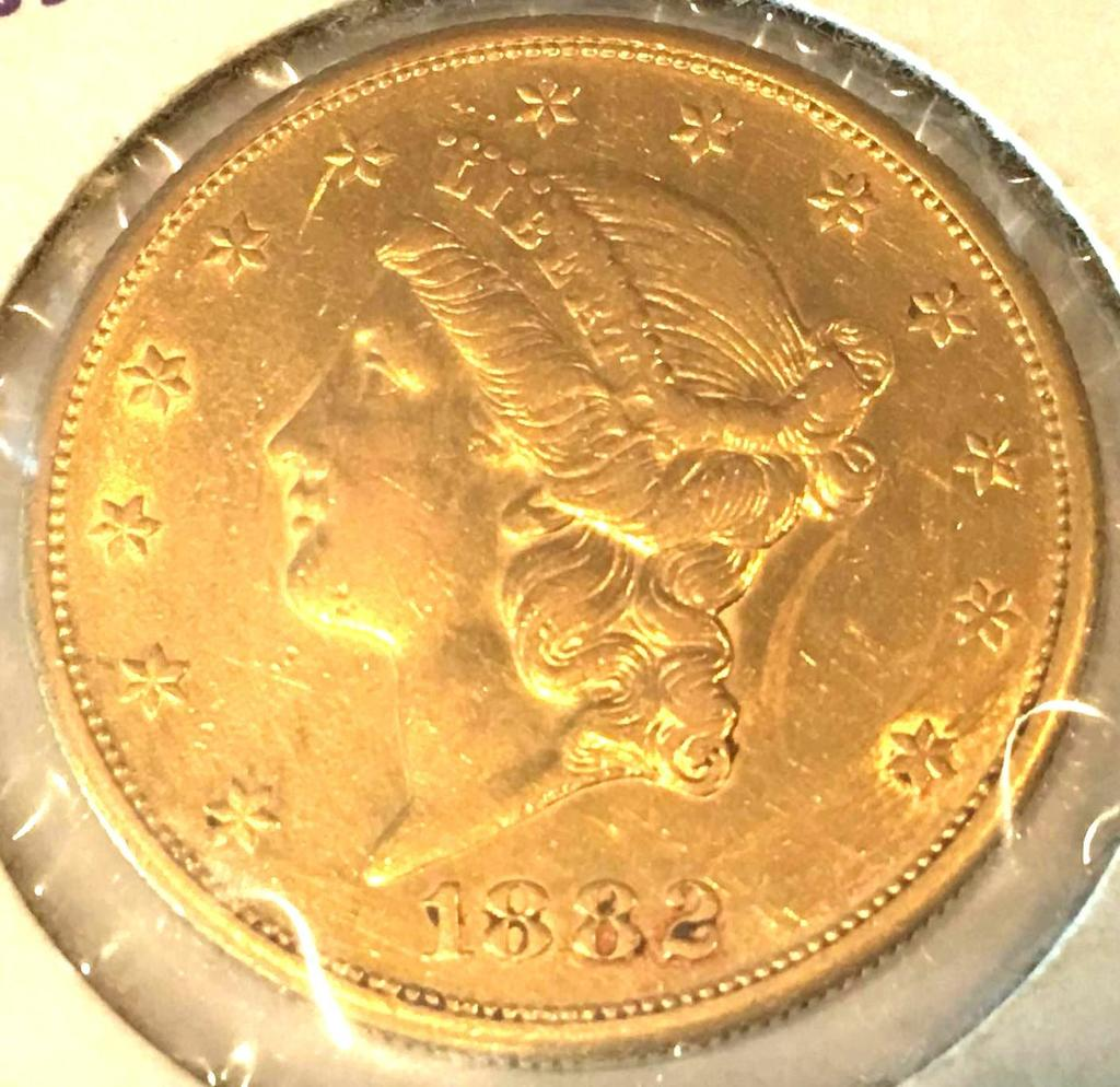 GOLD 1882-S Liberty Head $20 Gold Piece-Marked MS