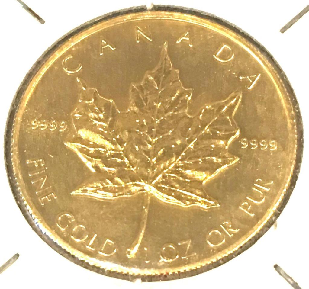 GOLD 1985 Canada Gold Maple Leaf 1 Oz of PUR Fine Gold .999 $50 Coin