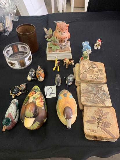 Duck, owl, bird figurines and leaf coasters
