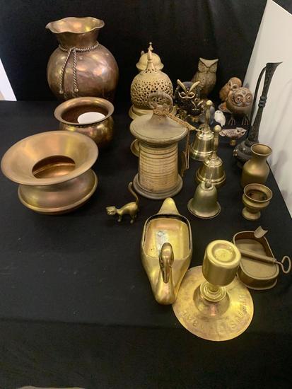 Brass- spittoon, Bella, figurines, Owls plus