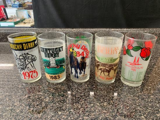 Kentucky Derby glasses 1975, 1983, 1984, 1985, and 1986