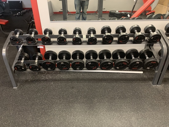 GP Rubber barbell Set 5lbs to 50lbs rack included