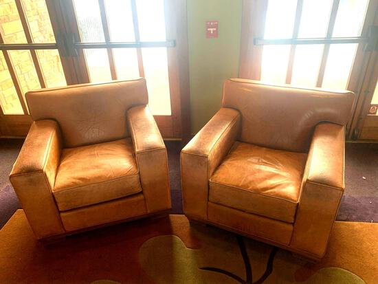 2x-Leather Swaim Upholstery Chairs