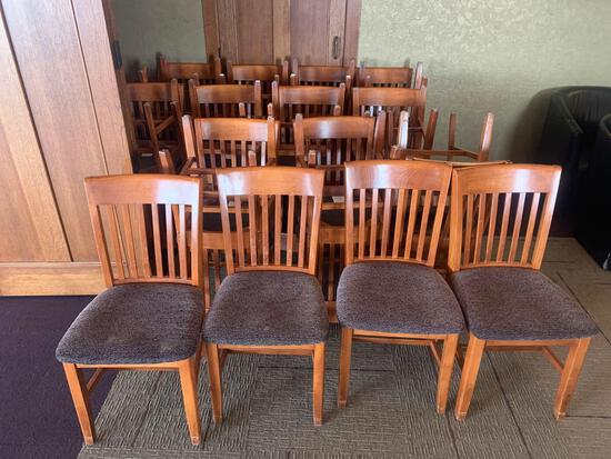 30x-Purple padded chairs with wood back