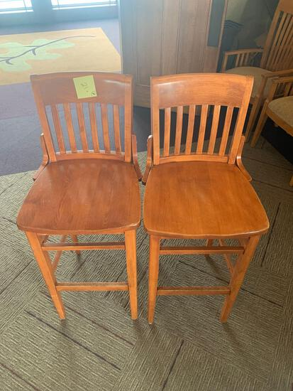 7x- wooden bar height chairs