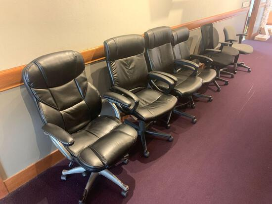 7x office chairs vinyl, cloth varieties