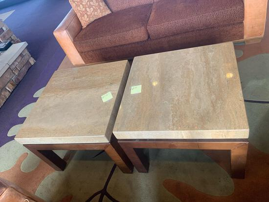 2x-30x30 Coffee Tables wood base with marble tops