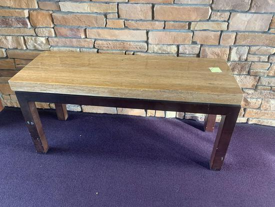 63x22x30high table marble top, one leg has been repaired
