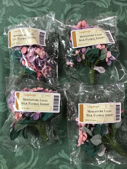 Miniature lilac silk floral insert