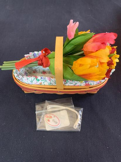 May series miniature tulip basket with protector liner tie on and floral insert