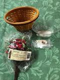 May series geranium miniature basket with protector, tie on, and floral insert