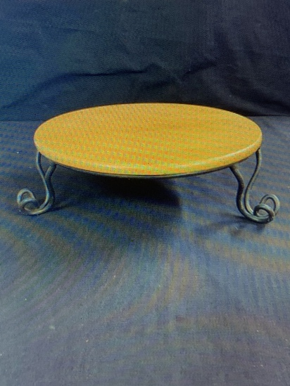 Wrought iron stand with wooden top