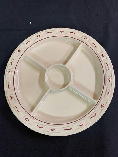 Traditional red divided relish plate