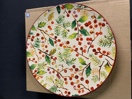 2 holly berry plates