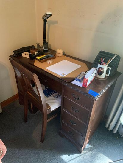 Antique desk and chair with all items included on desk