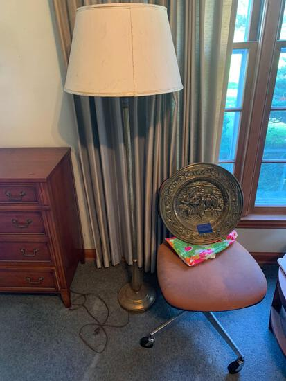 Antique lamp with globe and pilgrim plate plus chair