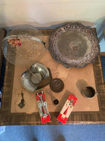 Antique serving Trays, bottle openers, jiggers, plus antique card table
