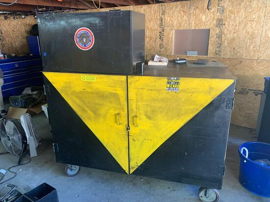 6ft x75in x41 tool box on wheels double sided very heavy duty with microwave included